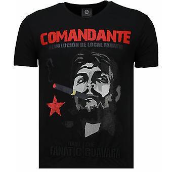 T-shirt Che Guevara Comandante-Rhinestone-Noir