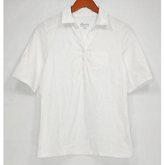 Denim & Co. Kobiety's Top XXS Essentials Short Sleeve Roll Tab White A288712
