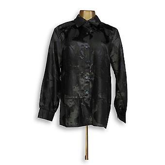 George Simonton Jacquard Long Sleeve Satin Blouse w/ Black A85581