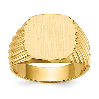 14 k giallo oro Mens incisione dell'anello di Signet - 9,8 grammi - misura 9