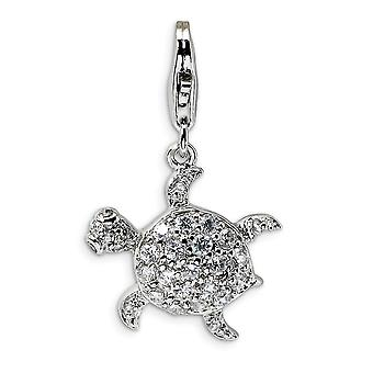 925 Sterling Silver Polished Rhodium banhado Fancy Lobster Closure CZ Cubic Zirconia Simulated Diamond Sea Turtle With Lo
