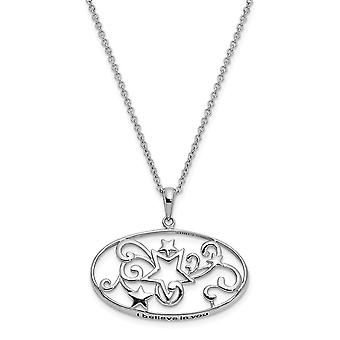 925 Sterling Silver Gepolijst Gift Boxed Spring Ring Rhodium verguld I Believe In You 18in Star Ketting Sieraden Geschenken voor