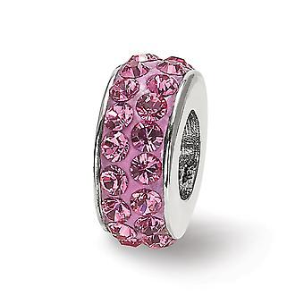 925 Sterling Sølv poleret refleksioner okt dobbelt række Crystal Bead Charm Vedhæng halskæde smykker gaver til kvinder