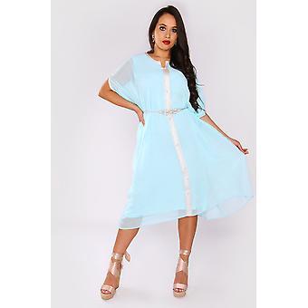 Kaftan Cassandra kurze schiere Ärmel Midi knielanges Kleid und Gürtel in blau