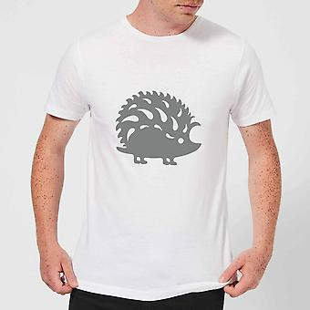 Candlelight Folk Silhouette Hedge Hog Cutout Men's T-Shirt - White