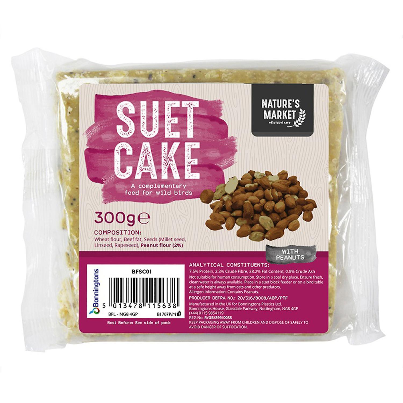 Natures Market Wild Bird Feed Suet Cake - Peanut Flavour Food