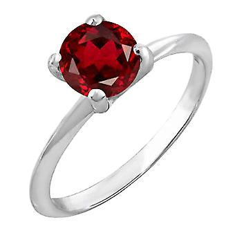 Dazzlingrock Collection Sterling Silver 7 MM Round Cut Garnet Solitaire Bridal Engagement Ring
