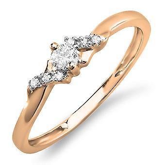 Dazzlingrock Collection 0.18 Carat (ctw) 10k Round Diamond Ladies Bridal Promise Engagement Ring, Rose Gold