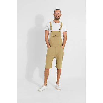 Jesse mens slim fit cotton dungaree shorts - khaki