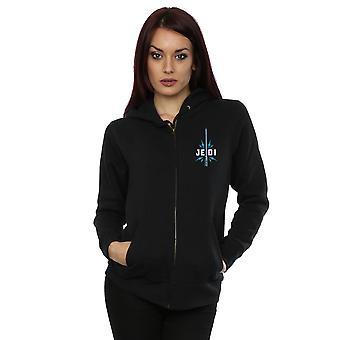Star Wars kvinnor ' s uppkomsten av Skywalker Jedi Badge bröst Print zip upp hoodie