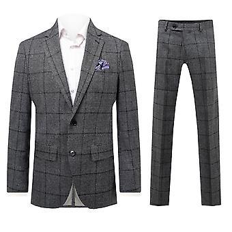 Dobell Mens Grey Check 2 częściowy garnitur Regular fit wycięcie Lapel