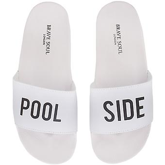Brave Soul Mens Pool Side Summer Holiday Beach Flip Flops Sandals Sliders White