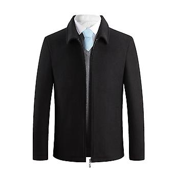 Allthemen Men's Solid Plush Thick Warm Business Casual Zipper Overcoat