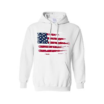 Men's Hoodie Battle Ripped USA Flag Pride