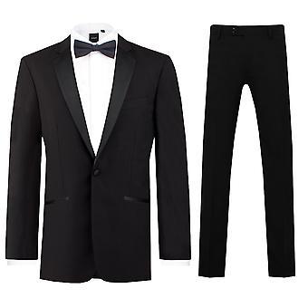 Dobell Mens Black 2 Piece البدلة الرسمية العادية Fit 100% الصوف نوتش لابيل