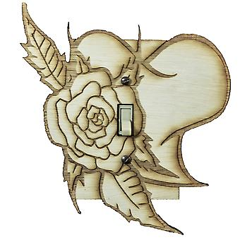 Rose and heart switch plate - raw wood - 6.1
