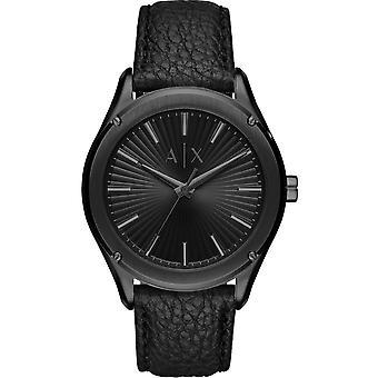 Armani Exchange AX2805 klocka-svart stål Läderarmband Svart Croco effekt män