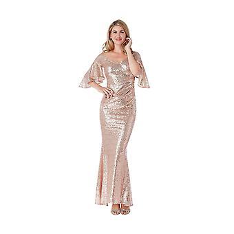 Goddiva Sequin Off-Shoulder Fluted Sleeve Maxi Dress