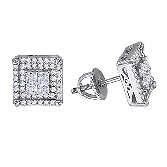 925 Sterling Silver Mens Womens Unisex Round CZ Stud Cluster Square Fashion Earrings Measures 9.4x Jewelry Gifts for Men