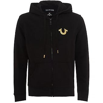 True Religion Gold Logo Zip Hoodie Sweatshirt Black MSMBW4C067