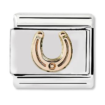 Nomination Classic Engraved Horseshoe Steel and 9k Rose Gold Link Charm 430104/05