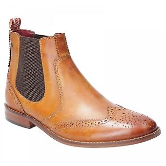 Base London Tan Leather Gaffer Washed Pull On Chelsea Boots