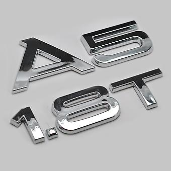 Silver Chrome Audi A5 1.8T Lettering Rear Boot Lid Trunk Badge Emblem For A5 Models