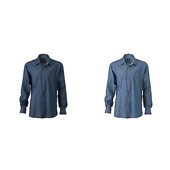 James and Nicholson Mens Denim Shirt