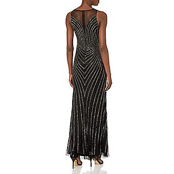 Adrianna Papell Women's Beaded Mermaid Dress,, Black/Mercury, Size 4.0