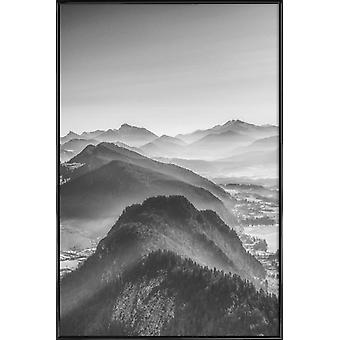 JUNIQE Print - Balloon Ride over the Alps 3 - Mountains Poster in Black & Grey