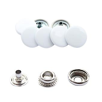 White 15mm 4, Part Press Studs, Snap Fasteners