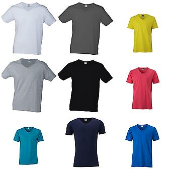 James and Nicholson Mens Slim Fit V Neck T-Shirt