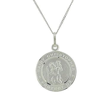 TOC Sterling Silver St. Christopher Medal 19mm Pendant Necklace 18