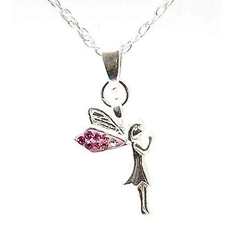 Toc Sterling Silver Pink Fairy Pendant on 18 Inch Chain