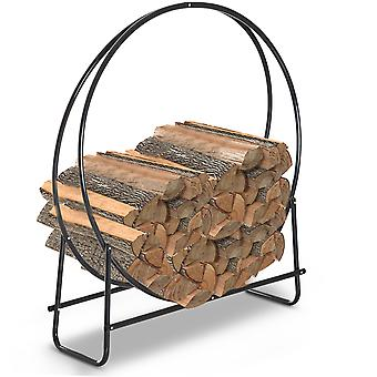 HOMCOM Firewood Log Rack Steel Storage Stand Holder Solid Hoop Black Outdoor and Indoor 102 x 40 x 114 cm