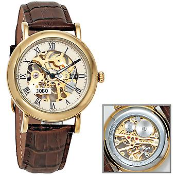 JOBO Men's Wristwatch Hand Winding Skeleton Work Glass Bottom
