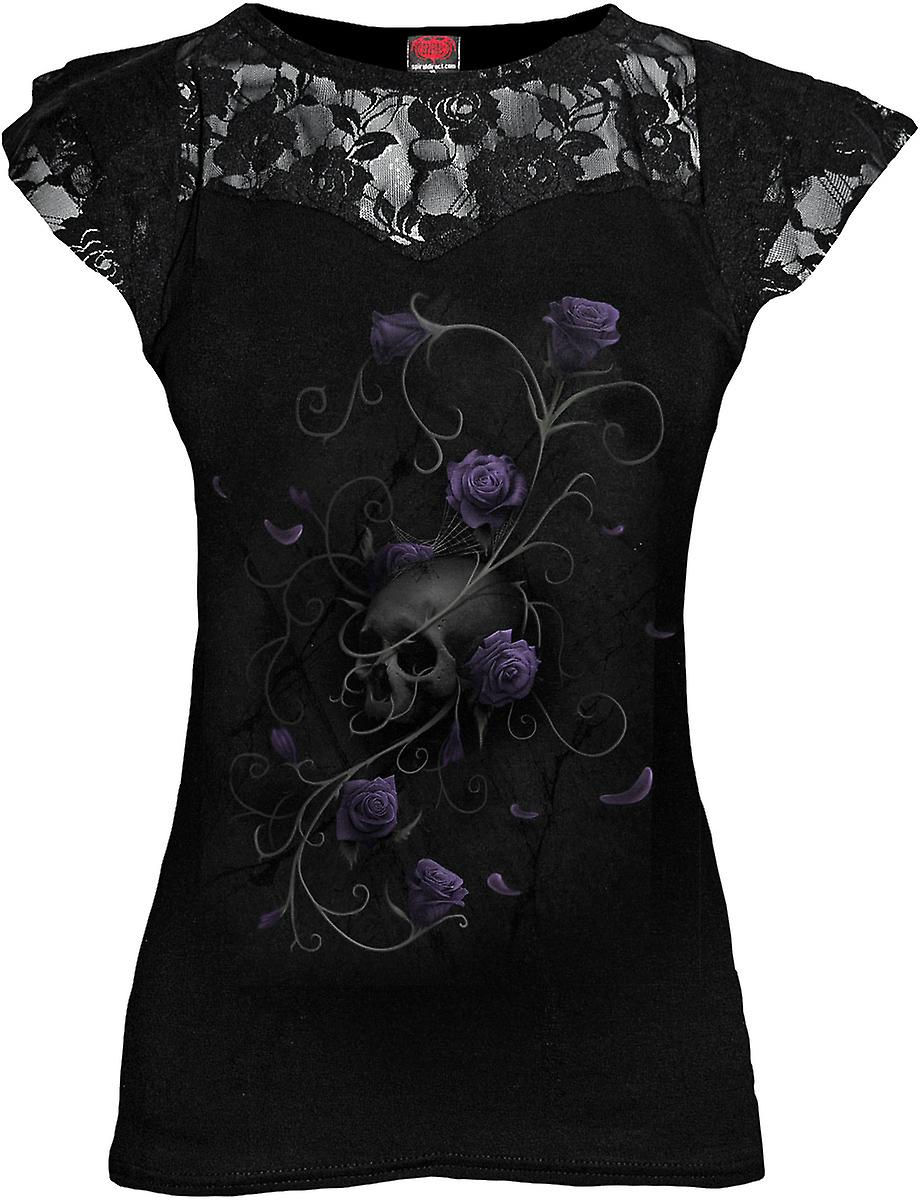 Spiral Direct Gothic ENTWINED SKULL - Lace Layered Cap Sleeve Top Black|Roses|Fashion