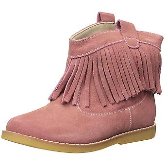 Kids Elephantito Girls Bootie W/Fringes Fabric Ankle Pull On Western Boots