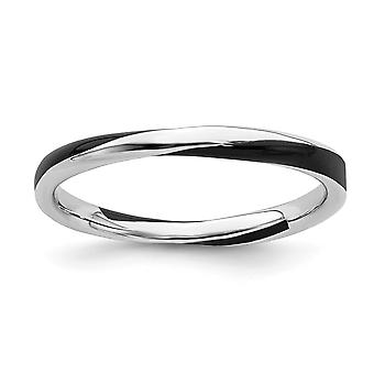 925 Sterling Silver Polished Rhodium plated Twisted Black Enameled 2.5 x 2.25mm Stackable Ring Jewelry Gifts for Women -