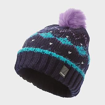 New The Edge Fuzzy Jacquard Hat Dark Grey