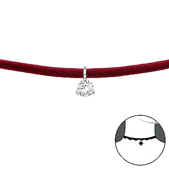 Round - 925 Sterling Silver + Velvet Chokers - W37127x