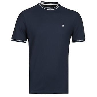 Farah Liverpool Modern Fit Honeycomb Navy T-Shirt