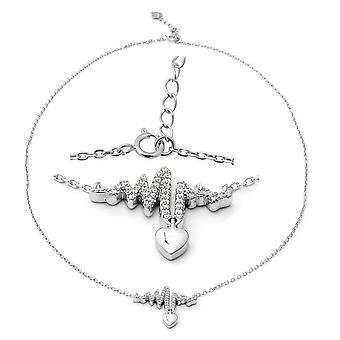 ELANZA Heart lifeline Cubic Zirconia CZ Sterling Silver Necklace , 5.1 Ct