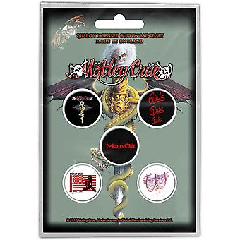 Motley Crue Button Badge Pack Dr Feelgood Bandlogo neue offizielle 5 x Pin Button