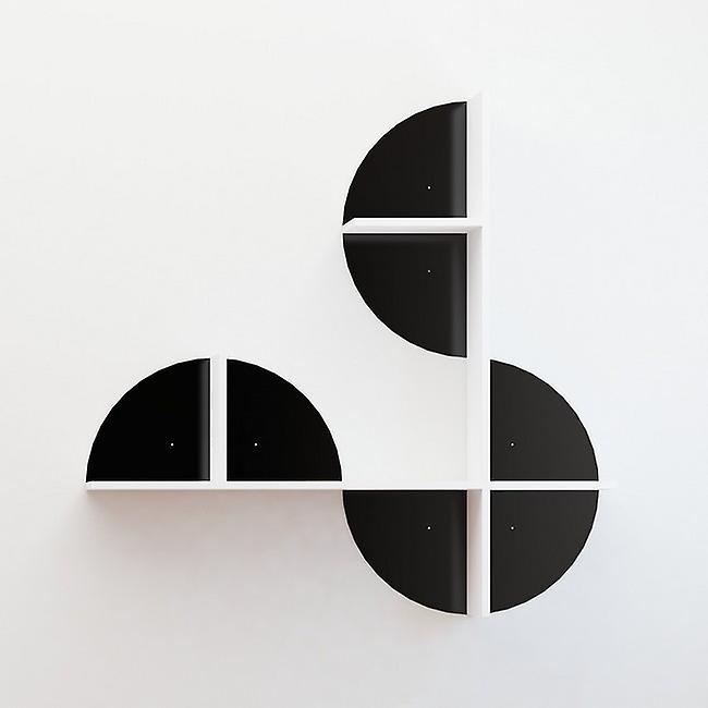 Mensola Maui Color Nero, Bianco in Truciolato, Strato in Metallo Verniciato 120x18x120 cm