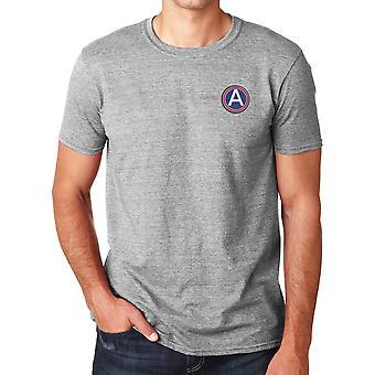 Central do exército de Estados Unidos bordado logotipo - camisa de algodão Ringspun T