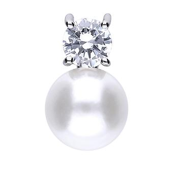 Diamonfire P4781 Silver Pearl And Zirconia Pendant