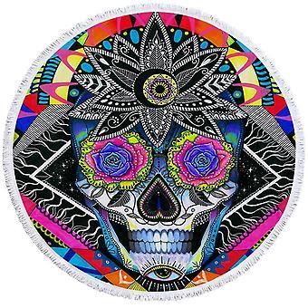 Psychedelic Roses Eyes Skull  Beach Towel