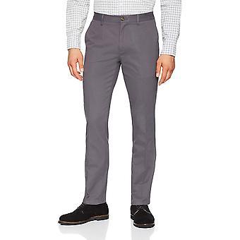 Essentials Men's Slim-Fit Wrinkle-Resistant Flat-Front Chino Pant, Gris, 42W x 32L