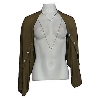 LOGOTIPO por Lori Goldstein Women's Sweater Rayon Shrug Green A370802